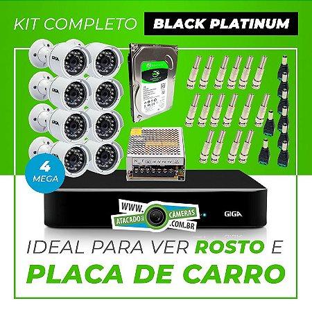 Kit Completo de Monitoramento CFTV com 8 Câmeras Open HD 4 Mega Giga Security Black Platinum