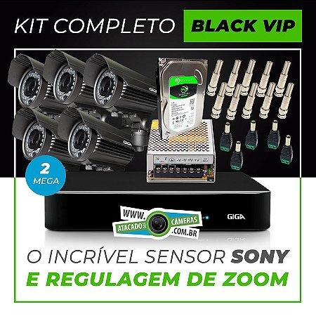 Kit Completo de Monitoramento com 5 Câmeras Varifocais Giga Security Black Vip