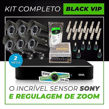 Kit Completo de Monitoramento com 6 Câmeras Varifocais Giga Security Black Vip