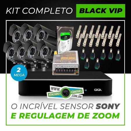Kit Completo de Monitoramento com 7 Câmeras Varifocais Giga Security Black Vip