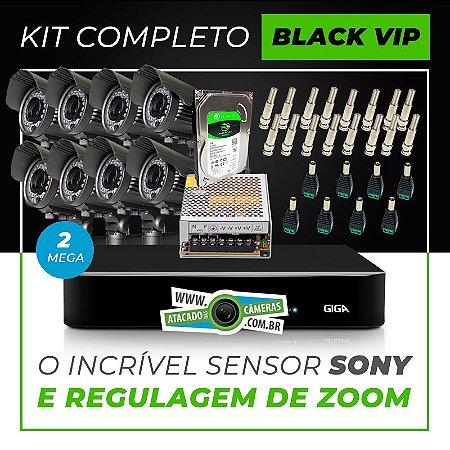 Kit Completo de Monitoramento com 8 Câmeras Varifocais Giga Security Black Vip