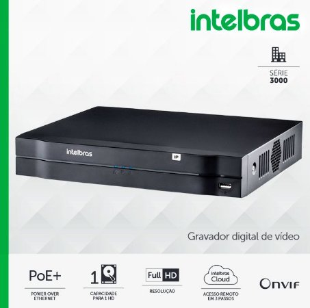 NVD 3108 P Intelbras - Gravador digital de vídeo em rede c/ 1 HD de fábrica de 1TB - p/ até 8 canais IP em Full HD @ 30 fps, 8 portas POE+