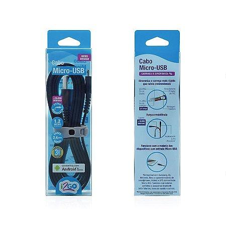 Cabo Micro USB i2GO 1,2m 2,4A PVC Flexível Flat