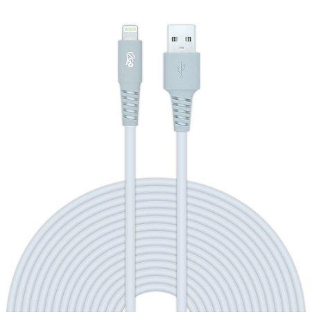 Cabo Lightning i2GO Certificado MFi 3m 2,4A PVC Flexivél – Branco com Cinza – i2GO