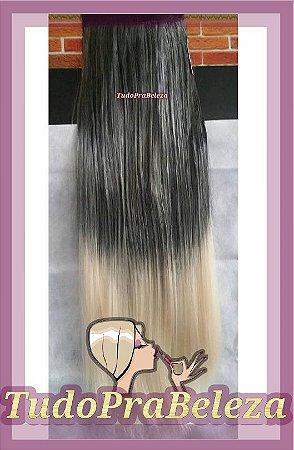 Aplique Ombre Hair Californiana Preto com Loiro Luzes