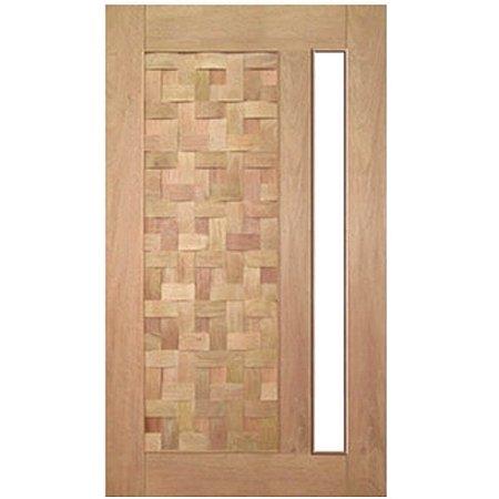 Porta de Madeira Maciça - Couro Trançado Vidro