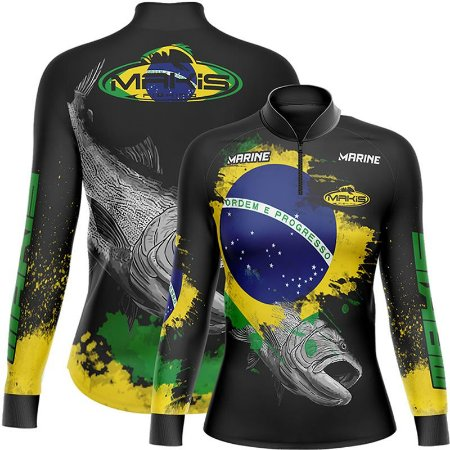 Camiseta Pesca Feminina FPU 50+ MaKis Fishing Modelo Raglan