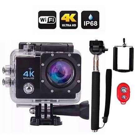 Kit Câmera 4k Sports A Prova Dágua + Monopod Bastão Selfie
