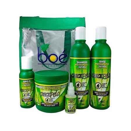 Kit Boé Crece Pelo Com Bolsa - Shampoo 370ml + Condicionador 350ml + Máscara 240g + Leave-in 113g + Ampola 20ml