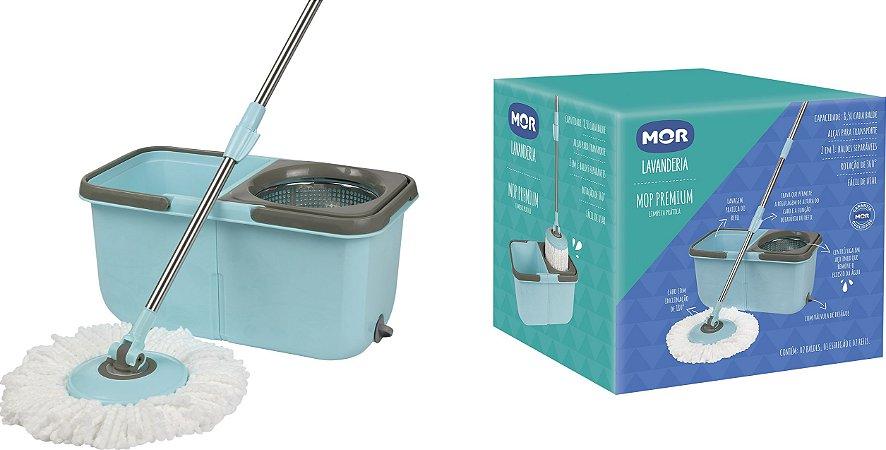 Balde Mop Premium Centrifugador Com Esfregão 1 Refil - Mor