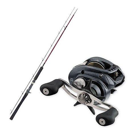 Kit de Pesca Carretilha Daiwa Arid 100 -Esquerda + Vara Fibra de Carbono 1,83m - 25lbs