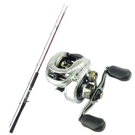 Kit de Pesca Carretilha Lubina Gto 9 Marine Sports -Direita + Vara Fibra de Carbono 1,83m - 25lbs