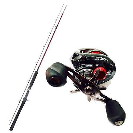 Kit de Pesca Carretilha Brisa Gto 8000 Marine Sports -Direita + Vara Fibra de Carbono 1,83m - 25lbs