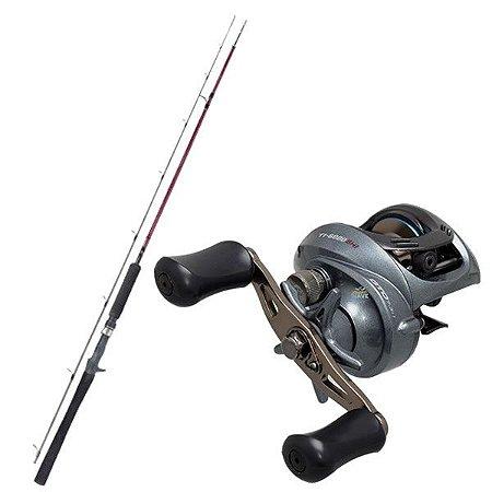 Kit de Pesca Carretilha Titan Gto 6000 Marine Sports -Direita + Vara Fibra de Carbono 1,83m - 25lbs