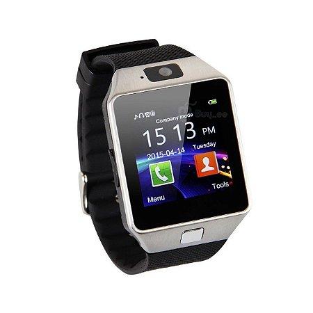 Relógio Bluetooth Smartwatch Dz09 Iphone Android Gear Chip - Preto-Prata