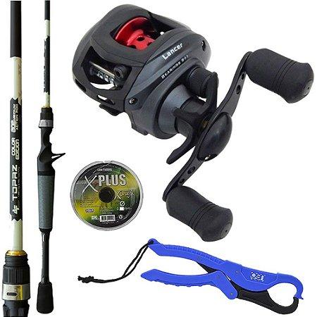 Kit Pesca Carretilha Lancer 10000 Com Vara Topaz 1,68mts Linha Multi e Alicate de Contenção