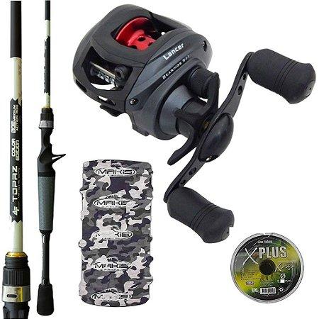 Kit Carretilha Lancer 10000 Com Vara Topaz 1,68mts Linha Multi e Bandana Makis Fishing