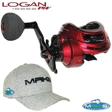 Carretilha Maruri Logan PW 10000 Com Boné Makis Fishing BM-01 Cinza