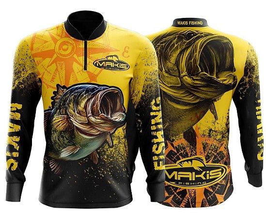 Camiseta Makis Fishing De Pesca Proteção Solar Uv50 Amarela