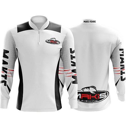 Camiseta Makis Fishing De Pesca Proteção Solar Uv50 - Branca