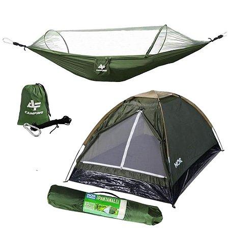 Kit Camping Barraca Mor Iglu Pantanal 3 Pessoas Verde Com Rede Descanso Albatroz  Mosqueteiro Arco Camping 300KG
