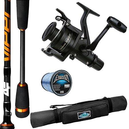 Molinete Shimano IX 4000 Com Vara Viper 1,68mts 8-17 Linha Action e Porta Varas Makis Fishing