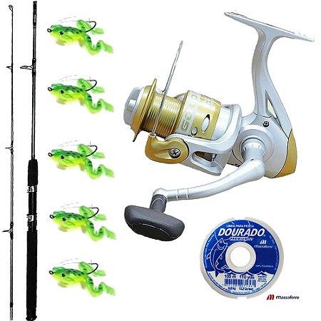 Kit Pesca Com Molinete Maruri Gold 4000 Vara Taue 1,80mts 30Lbs Linha Dourado E 5 Sapinho