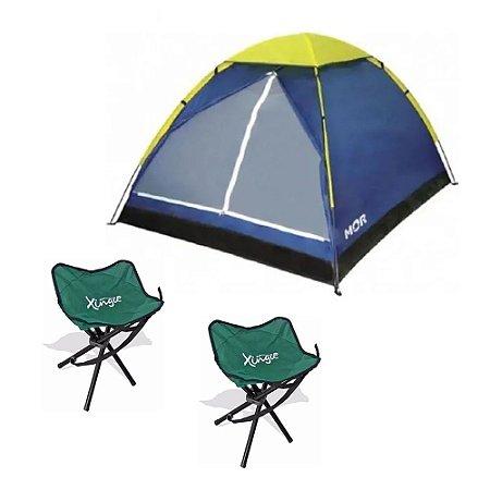 Barraca Iglu Para 4 Pessoas Azul/Amarela Mor Com 2 Banquinhos Camping  Pratica Dobrável