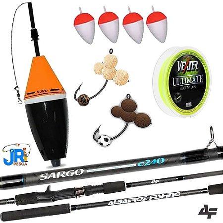 Kit Pesqueiro Vara Sargo 2,40m Cevadeira Kuro e 2 Anteninhas JR com Linha Soft Vexter 0,37mm
