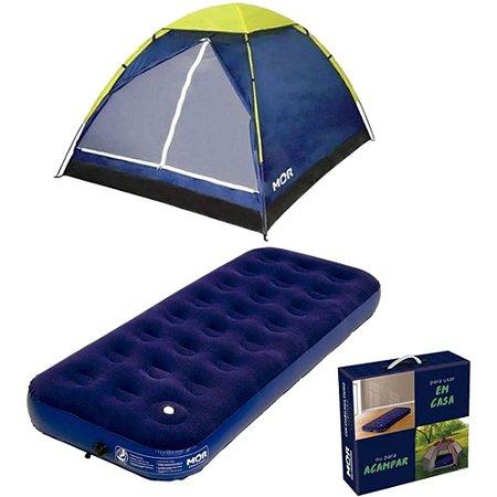 Kit Camping Barraca Iglu 4 Pessoas Azul Com Colchão Inflável Solteiro Com Fole Manual  Mor