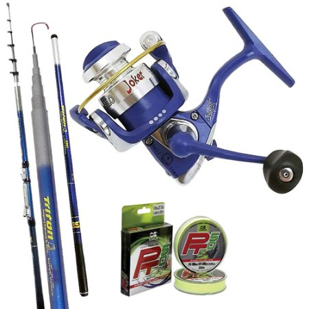 Kit Ultra Light Molinete Joker Milo Azul Com Vara Triton Spin 2,40mts e 300mts de Linha Soft 0,20mm