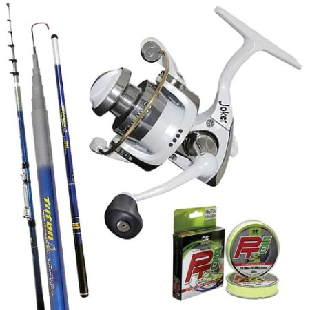 Kit Ultra Light Molinete Joker Milo Branco Com Vara Triton Spin 2,40mts e 300mts de Linha Solf 0,20mm