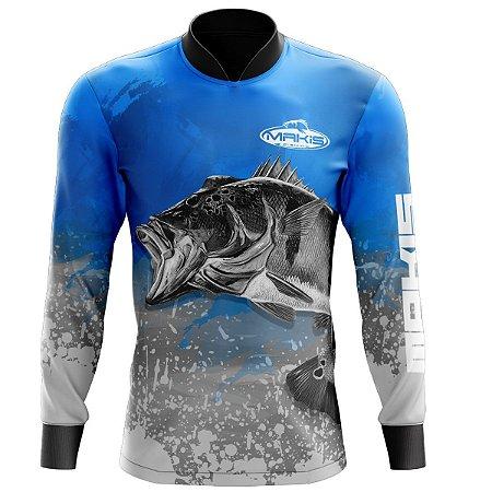Camisa De Pesca Proteção Solar Uv50 Makis Fishing MK-01