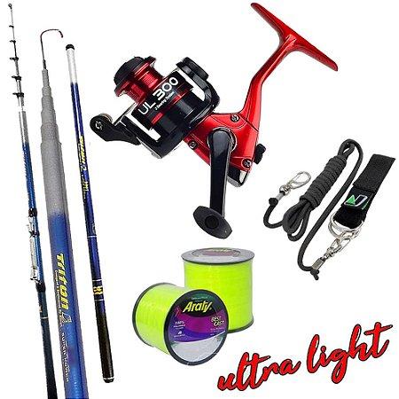 Kit Ultra Light Molinete UL300 Com Vara Triton 2,70mts Salva Vara e 2.600mts de Linha 0,20mm