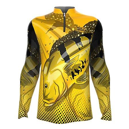 Camiseta de Pesca Mar Negro Tucunaré Amanrelo Com Proteção Solar 50+ UV