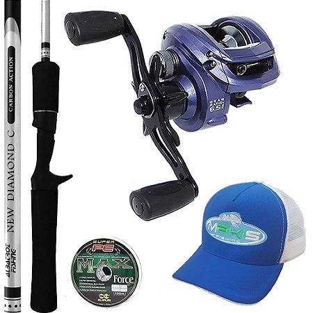 Kit Pesca Carretilha Bronx 10000 Com Vara Diamond 1,68mts Boné Makis Fishing e Linha