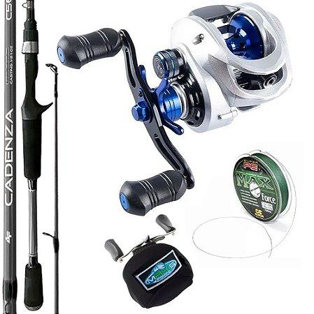 Kit Carretilha TNT R 10000 Com Vara Cadenza 1,68mts Linha Multi e Capa de Proteção Makis Fishing
