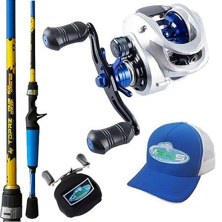 Kit Carretilha TNT R 10000 Com Vara Topaz 1,68mts Capa de Proteção e Bone Makis Fishing