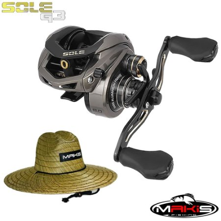 Carretilha Sole G3 Lançamento Saint Plus Com Chapéu de Palha Makis Fishing Pierside MC-01
