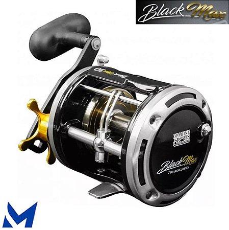 Carretilha Marine Black Max 50 Pesca Pesada Perfil Alto Manivela Direita