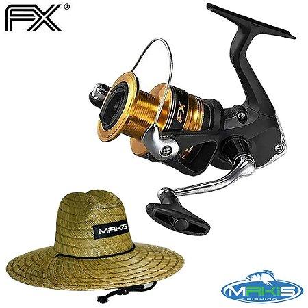 Molinete Shimano Fx 4000 Drag 8,5Kg Com Chapéu de Palha Makis Fishing Pierside MC-01