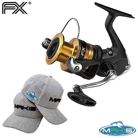 Molinete Shimano Fx 4000 Drag 8,5Kg Com Boné Makis Fishing Cinza BM-01