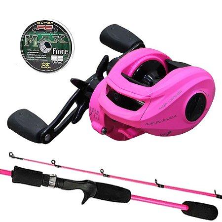 Kit Elas na Pesca Carretilha Maruri Montana 10000 Pink com Vara Cybor 1,80mts e Linha Multi
