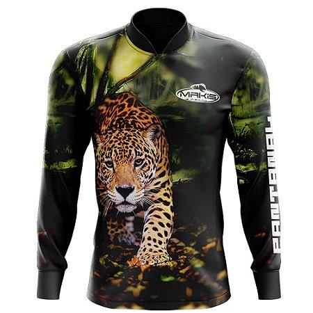 Camisa De Pesca Proteção Solar Uv50 Makis Fishing Onça Pintada Serie Pantanal