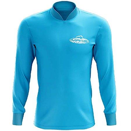 Camisa Esportiva Com Uv50 Makis Fishing Clean Color Azul Celeste MK-14
