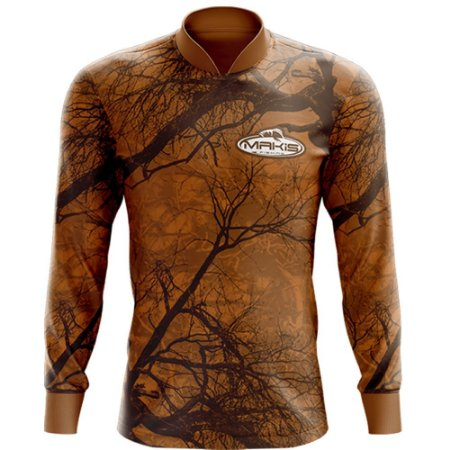 Camisa Esportiva Com Uv50 Makis Fishing Camuflada Marrom MK-12