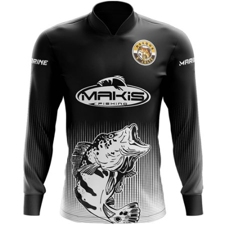 Camisa De Pesca Proteção Solar Uv50 Makis Fishing e Marine MK-21 Preta