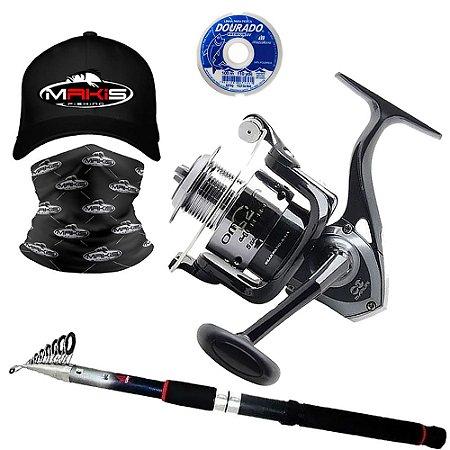 Kit Molinete Maruri Omega 5000 com Vara Telescópica 3,60mts Linha e Boné e Buff Makis Fishing