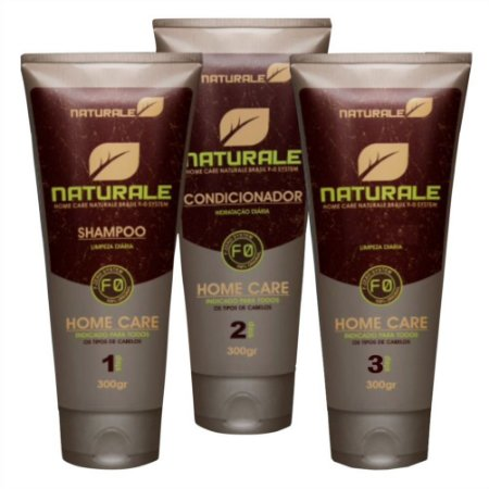 Naturale Shampoo Condicionador e Leave-in uso Diário 3x300ml