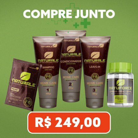 Combo Naturale - Kit Manutenção Completo + Sache Passo 80ml + NatuForce Caps